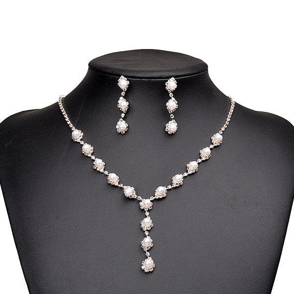 Artificial Pearl Beaded Necklace Earrings Jewelry SetJEWELRY<br><br>Color: SILVER; Item Type: Pendant Necklace; Gender: For Women; Material: Pearl; Style: Noble and Elegant; Shape/Pattern: Others; Weight: 0.0450kg; Package Contents: 1 x Necklace 1 x Earring (Pair);