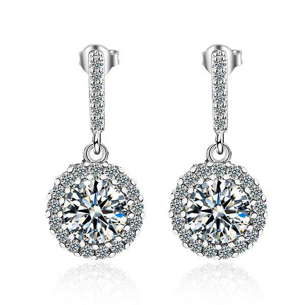 Vintage Circle Crystal Embellished Drop EarringsJEWELRY<br><br>Color: SILVER; Earring Type: Drop Earrings; Gender: For Girls,For Women; Material: Crystal; Style: Noble and Elegant; Shape/Pattern: Round; Weight: 0.0110kg; Package Contents: 1 x Earring (Pair);