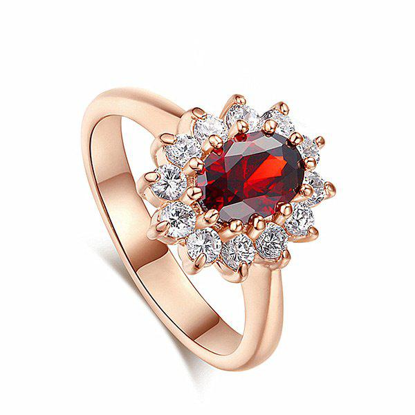 Vintage Crystal Embellished Faux Sapphire Steel Circle RingJEWELRY<br><br>Size: 6; Color: RED; Gender: For Women; Material: Crystal; Metal Type: Titanium; Style: Trendy; Shape/Pattern: Others; Weight: 0.0110kg; Package Contents: 1 x Ring;