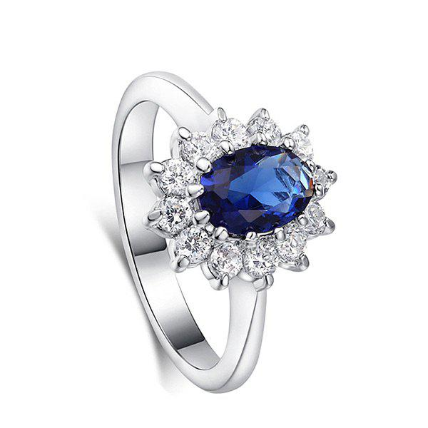 Vintage Crystal Embellished Faux Sapphire Steel Circle RingJEWELRY<br><br>Size: 8; Color: BLUE; Gender: For Women; Material: Crystal; Metal Type: Titanium; Style: Trendy; Shape/Pattern: Others; Weight: 0.0110kg; Package Contents: 1 x Ring;