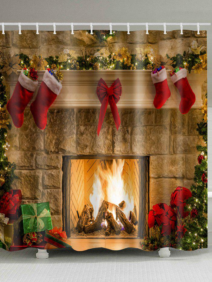 Christmas Fireplace Stockings Print Waterproof Fabric Shower CurtainHOME<br><br>Size: W71 INCH * L79 INCH; Color: COLORMIX; Products Type: Shower Curtains; Materials: Polyester; Pattern: Christmas Tree,Gift; Style: Festival; Number of Hook Holes: W59 inch*L71 inch: 10; W71 inch*L71 inch: 12; W71 inch*L79 inch: 12; Package Contents: 1 x Shower Curtain 1 x Hooks (Set);