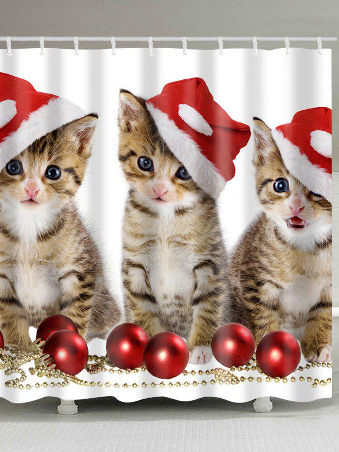 Christmas Cats Baubles Print Waterproof Fabric Shower CurtainHOME<br><br>Size: W59 INCH * L71 INCH; Color: COLORMIX; Products Type: Shower Curtains; Materials: Polyester; Pattern: Animal,Ball; Style: Festival; Number of Hook Holes: W59 inch*L71 inch: 10; W71 inch*L71 inch: 12; W71 inch*L79 inch: 12; Package Contents: 1 x Shower Curtain 1 x Hooks (Set);