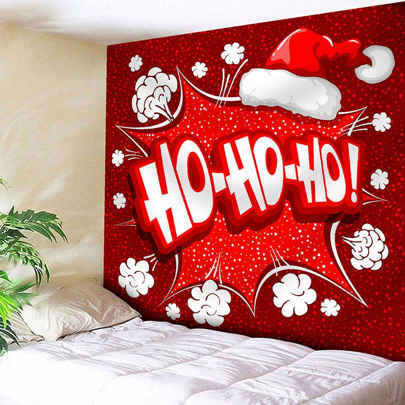Wall Decor Christmas Hat Letter Print TapestryHOME<br><br>Size: W59 INCH * L51 INCH; Color: RED; Style: Festival; Theme: Christmas; Material: Nylon,Polyester; Feature: Removable,Washable; Shape/Pattern: Letter; Weight: 0.1800kg; Package Contents: 1 x Tapestry;