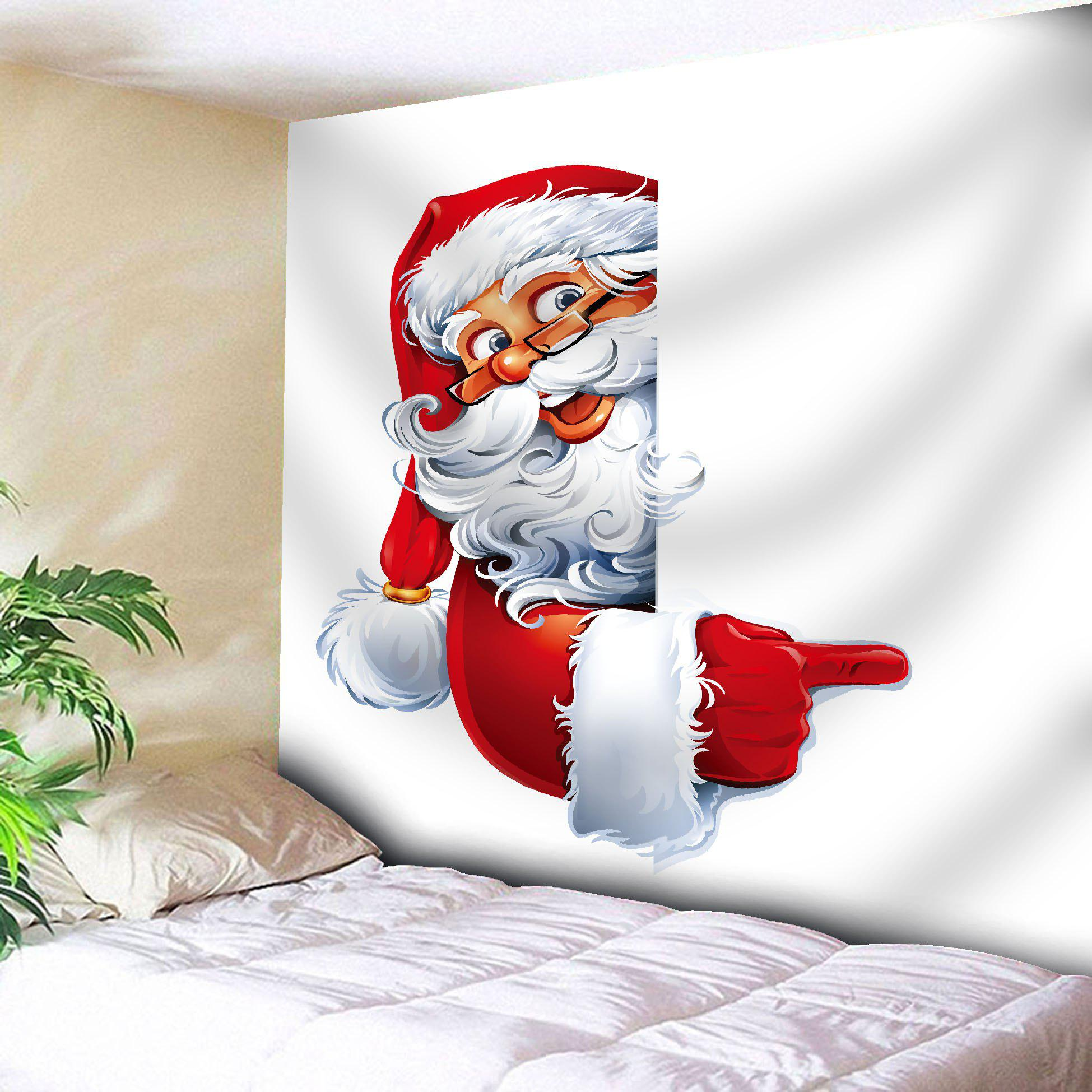 Santa Claus Printed Wall Art Christmas TapestryHOME<br><br>Size: W59 INCH * L59 INCH; Color: WHITE; Style: Festival; Theme: Christmas; Material: Nylon,Polyester; Feature: Removable,Washable; Shape/Pattern: Santa Claus; Weight: 0.2000kg; Package Contents: 1 x Tapestry;