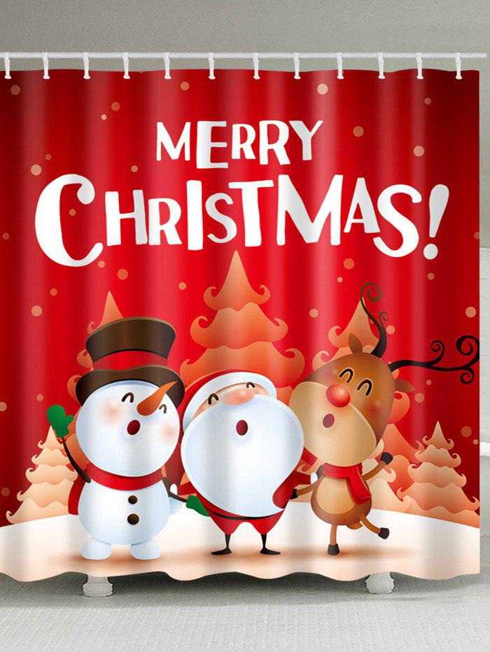 Christmas Santa Snowman Print Waterproof Fabric Shower CurtainHOME<br><br>Size: W71 INCH * L71 INCH; Color: COLORMIX; Products Type: Shower Curtains; Materials: Polyester; Pattern: Cartoon,Letter; Style: Festival; Number of Hook Holes: W59 inch*L71 inch: 10; W71 inch*L71 inch: 12; W71 inch*L79 inch: 12; Package Contents: 1 x Shower Curtain 1 x Hooks (Set);