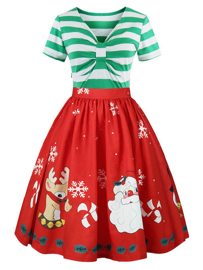 Christmas Plus Size Panel Flared DressWOMEN<br><br>Size: 3XL; Color: LIGHT GREEN; Style: Cute; Material: Polyester; Silhouette: A-Line; Dresses Length: Mid-Calf; Neckline: V-Neck; Sleeve Length: Short Sleeves; Waist: High Waisted; Embellishment: Panel; Pattern Type: Cartoon,Print,Striped; With Belt: No; Season: Fall,Spring,Summer,Winter; Weight: 0.2600kg; Package Contents: 1 x Dress;