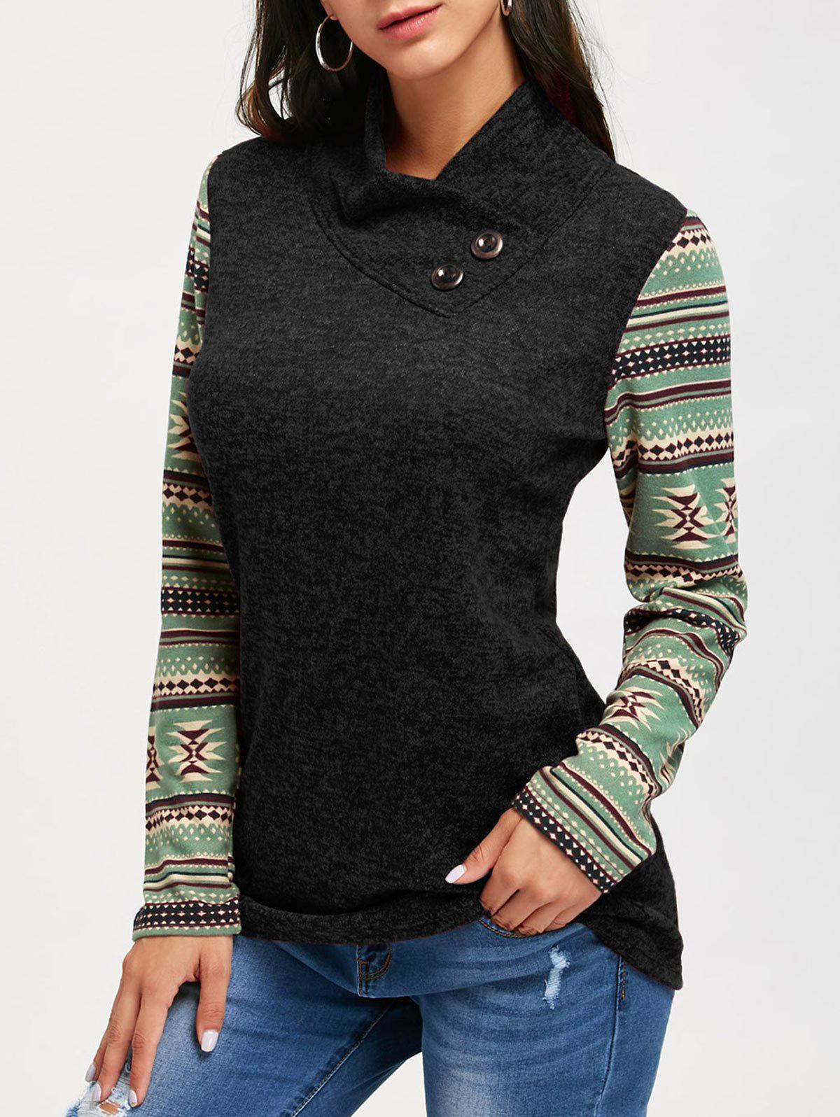 Ethnic Print Long Sleeve Heap Collar TopWOMEN<br><br>Size: L; Color: BLACK; Material: Polyester; Shirt Length: Regular; Sleeve Length: Full; Collar: Heaps Collar; Style: Casual; Embellishment: Button; Pattern Type: Print; Season: Fall,Spring; Weight: 0.3500kg; Package Contents: 1 x Top;