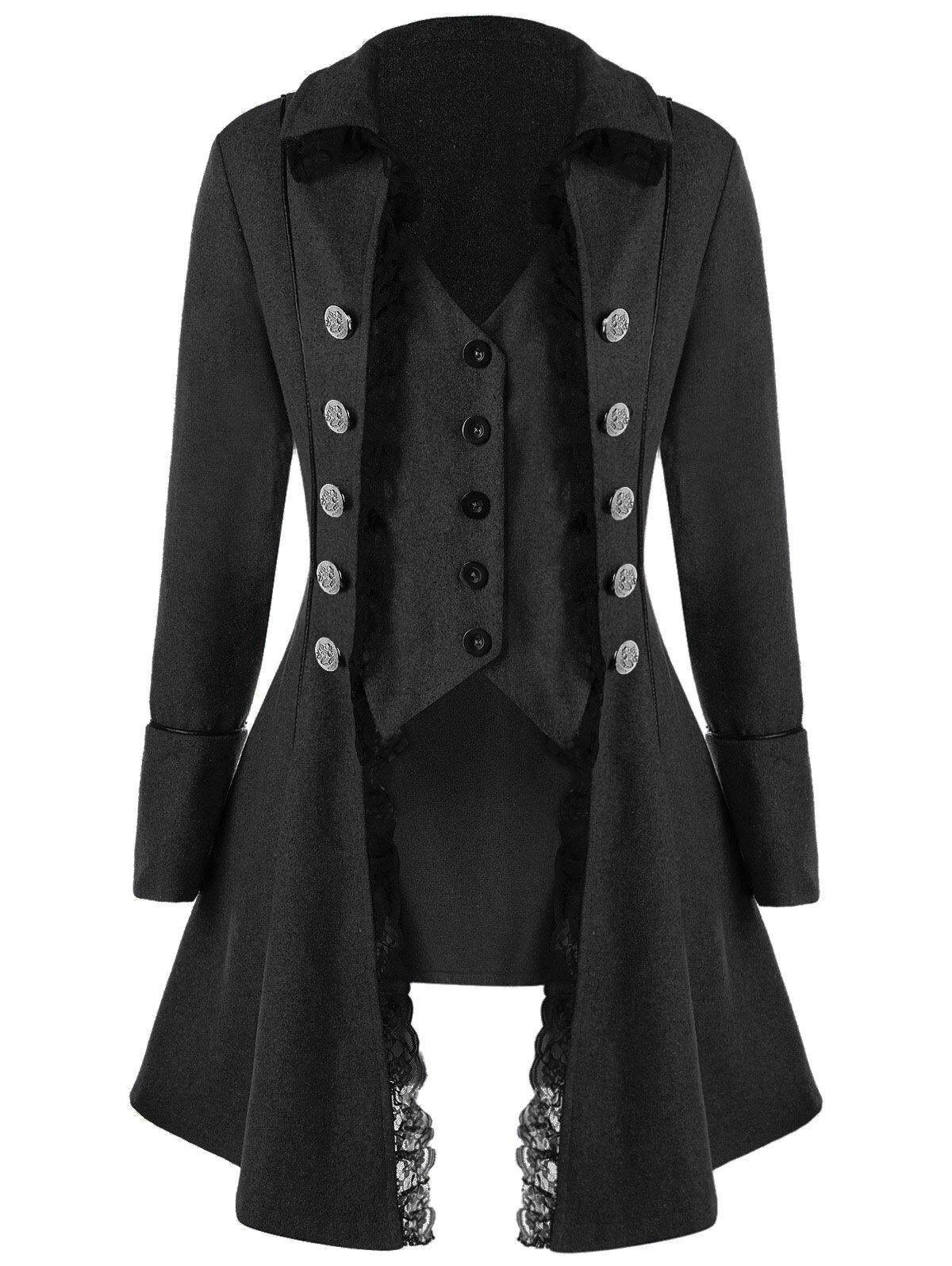 Button Up Lace Trim TailcoatWOMEN<br><br>Size: M; Color: BLACK GREY; Clothes Type: Wool &amp; Blends; Material: Polyester; Type: Slim; Shirt Length: Long; Sleeve Length: Full; Collar: Turn-down Collar; Pattern Type: Solid; Style: Gothic; Season: Fall,Spring; Weight: 0.7300kg; Package Contents: 1 x Coat;