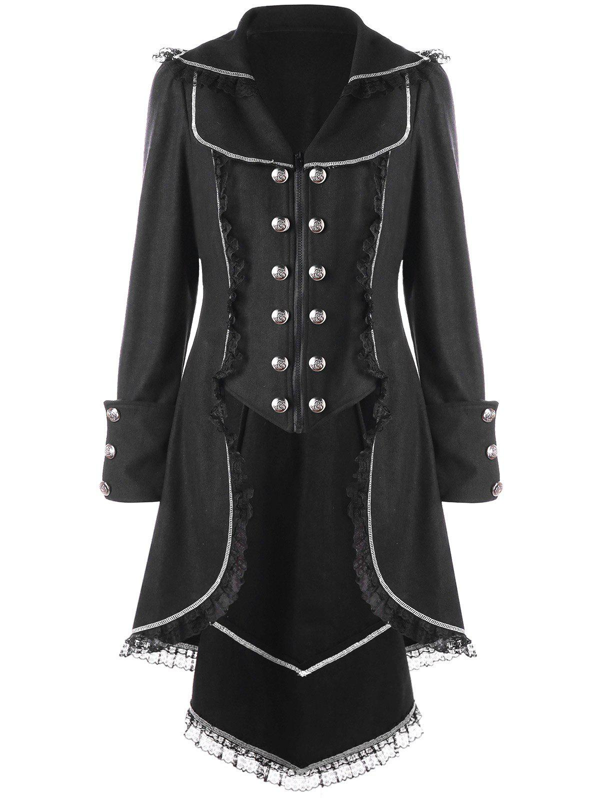 Double Breasted Lace Trim Tail CoatWOMEN<br><br>Size: 2XL; Color: BLACK; Clothes Type: Trench; Material: Polyester; Type: Slim; Shirt Length: Long; Sleeve Length: Full; Collar: Turndown Collar; Pattern Type: Solid; Style: Gothic; Season: Fall,Spring; Weight: 0.9100kg; Package Contents: 1 x Coat;