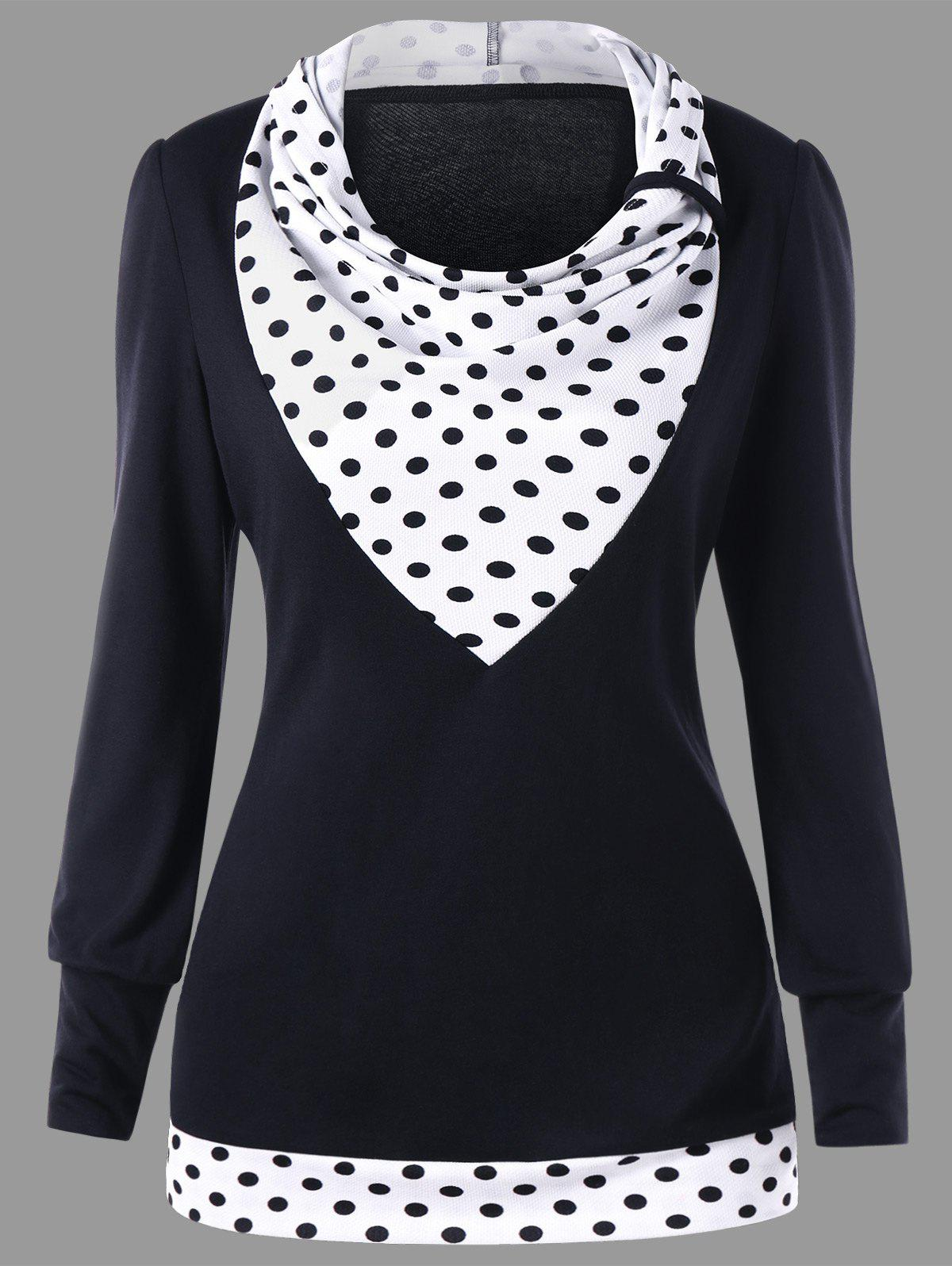 Latest Cowl Neck Polka Dot Pullover Tunic Sweatshirt