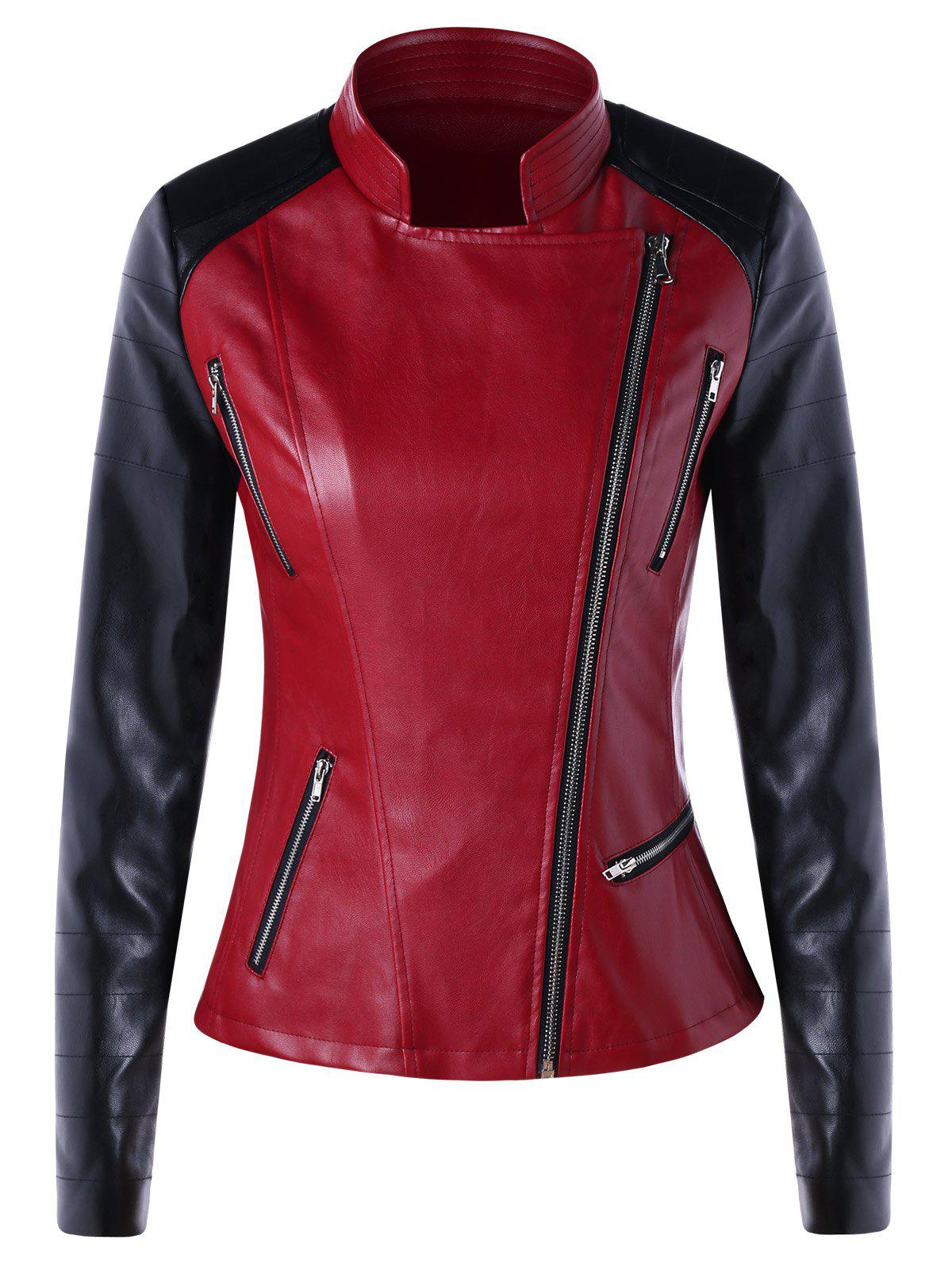 4e7e222bb1 79% OFF] Color Block Zipper Faux Leather Jacket | Rosegal