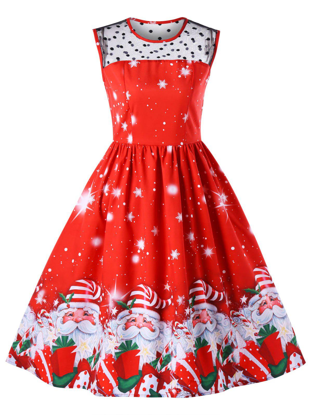 Christmas Mesh Insert Santa Claus Print DressWOMEN<br><br>Size: XL; Color: RED; Style: Vintage; Material: Polyester; Silhouette: Fit and Flare; Dresses Length: Mid-Calf; Neckline: Round Collar; Sleeve Length: Sleeveless; Pattern Type: Character; With Belt: No; Season: Fall,Spring; Weight: 0.5100kg; Package Contents: 1 x Dress;