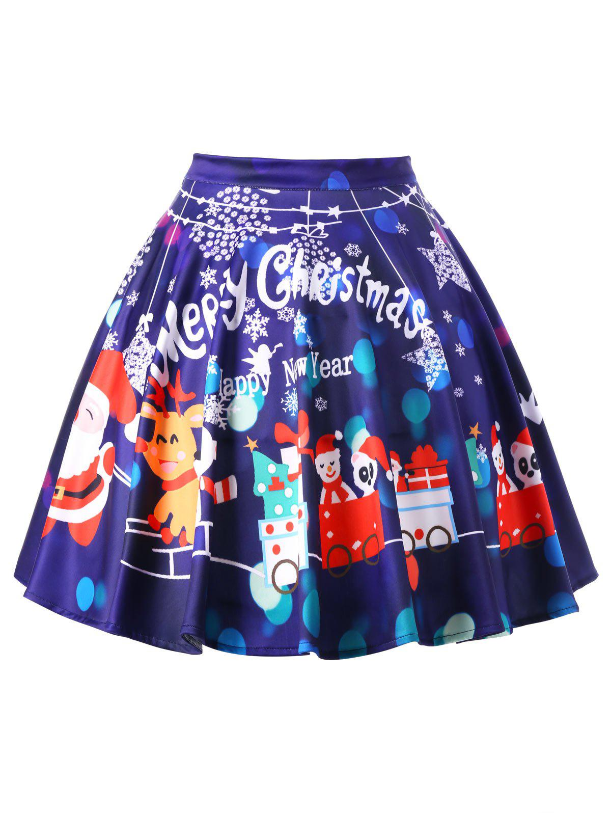 Christmas Plus Size Swing SkirtWOMEN<br><br>Size: XL; Color: DEEP PURPLE; Material: Polyester; Length: Knee-Length; Silhouette: A-Line; Pattern Type: Character; Season: Fall,Spring; Weight: 0.3100kg; Package Contents: 1 x Skirt;