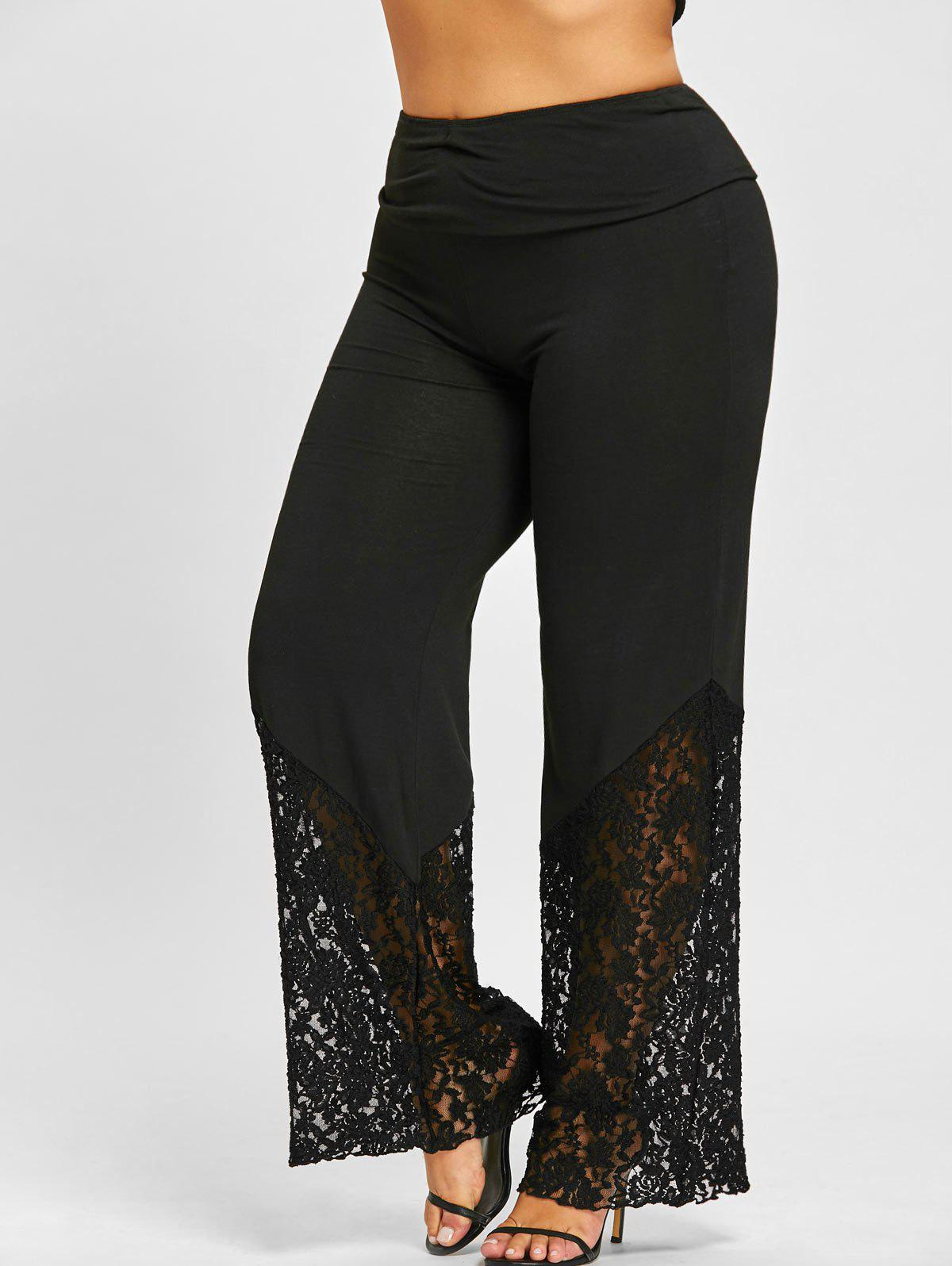 Plus Size Lace Hem Palazzo PantsWOMEN<br><br>Size: 2XL; Color: BLACK; Style: Fashion; Length: Overlength; Material: Polyester,Spandex; Fit Type: Loose; Waist Type: High; Closure Type: Elastic Waist; Pattern Type: Floral; Embellishment: Lace; Pant Style: Wide Leg Pants; Weight: 0.3700kg; Package Contents: 1 x Pants;