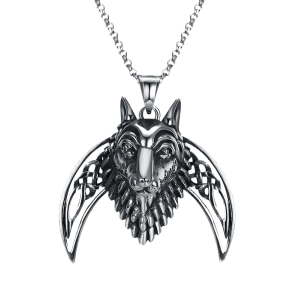 Lion Carving Decorative Stainless Steel Biker Necklace -