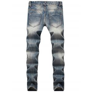 Zip Fly Straight Leg Faded Jeans -
