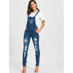 Cuffed Distressed Denim Dungarees -