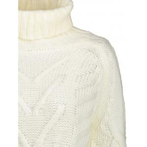 White One Size Knitted Turtleneck Tunic Sweater | RoseGal.com