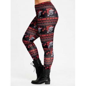Christmas Cats Print Plus Size High Waist Leggings -
