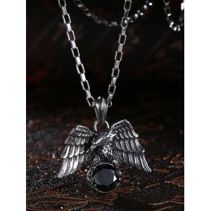 Carved Eagle Embellished Faux Gem Stainless Steel Necklace -