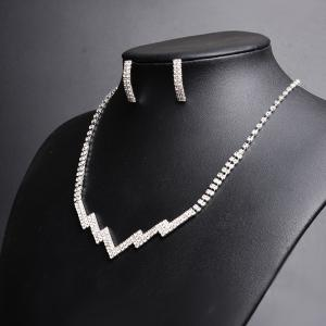 Rhinestone Zig Zag Necklace with Earring Set -