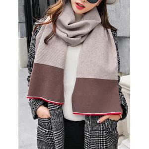 Vintage Color Splice Pattern Crochet Knitted Long Scarf -