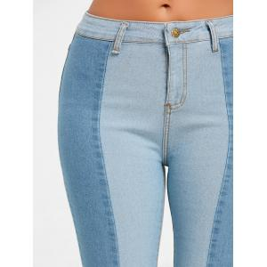 Two Tone Color Skinny Denim Jeans -