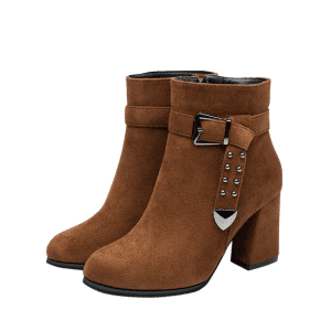 Studs Buckle Strap Chunky Heel Ankle Boots -