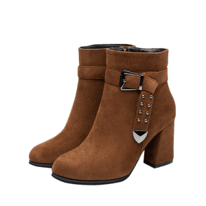 Zip Buckle Straps Boots - Coffee 37