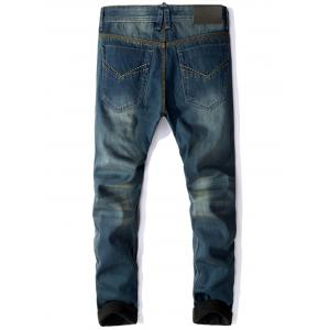 Zip Fly Flocking Denim Pants -