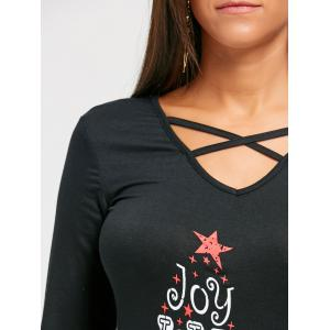 Letter Star Criss Cross Christmas Blouse -