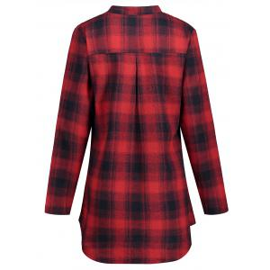 High Low Plaid Plus Size Shirt -