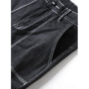 Zip Fly Cuffed Tapered Jeans with Big Pockets -