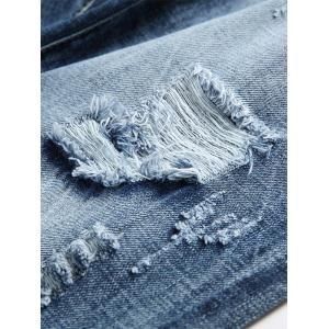 Light Wash Straight Leg Distressed Jeans -