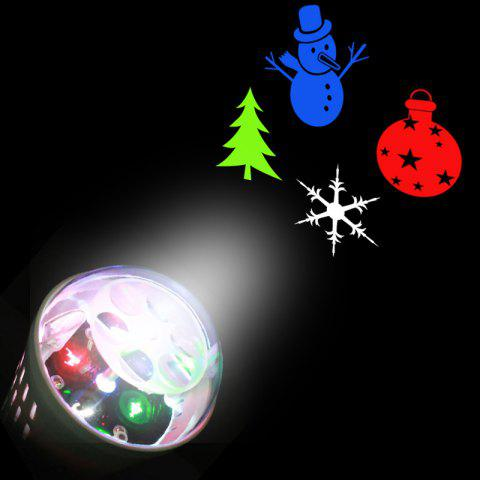 Christmas Tree Snowman Baubles Pattern Projector Light Bulb - WHITE - US