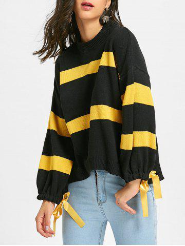 Loose Fit Striped Tie Up Sleeve Jumper Sweater