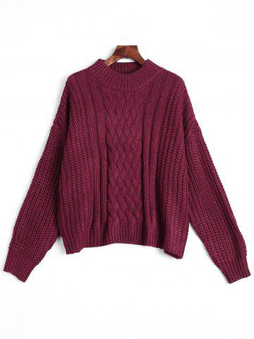 Mock Neck Chunky Knitted Sweater