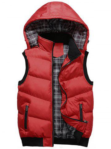 Fancy Detachable Hood Zip Up Padded Vest