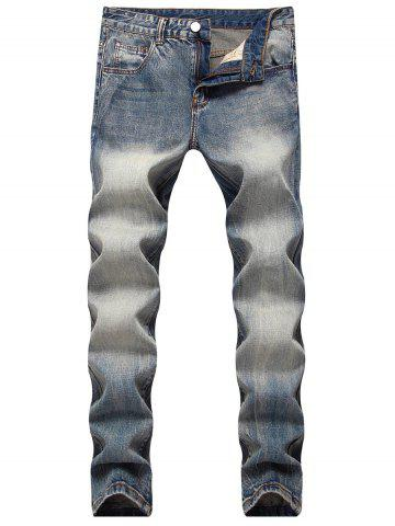 Discount Zip Fly Straight Leg Faded Jeans