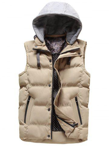 Cheap Detachable Hood Clock Block Puffer Vest