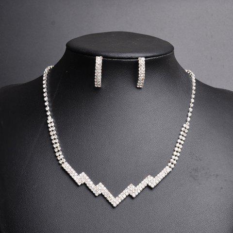 Online Rhinestone Zig Zag Necklace with Earring Set