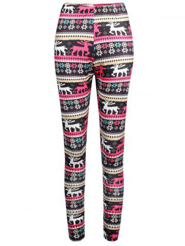 Chic Elk Print Elastic Waist Workout Leggings