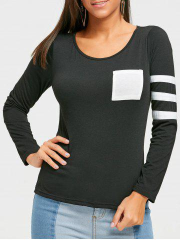 Fancy Color Block Striped Sleeve Pocketed T-shirt