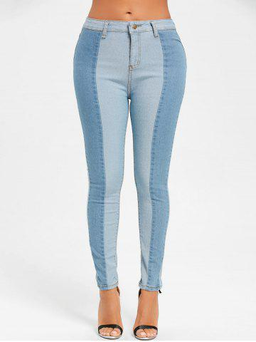 Outfit Two Tone Color Skinny Denim Jeans