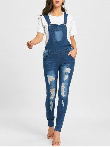 Discount Cuffed Distressed Denim Dungarees
