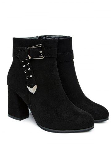 Outfit Studs Buckle Strap Chunky Heel Ankle Boots