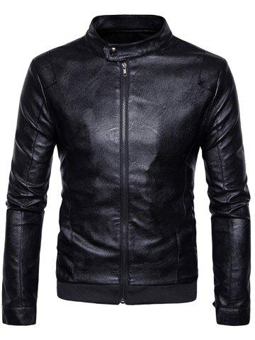 Ribbed Zip Up Faux Leather Jacket