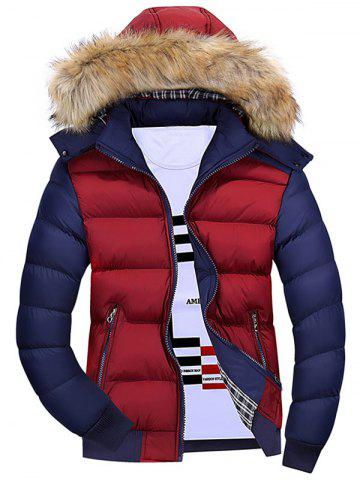 Color Block Detachable Hood Padded Jacket