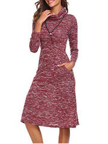 Sale Long Sleeve Cowl Neck Knee Length Dress