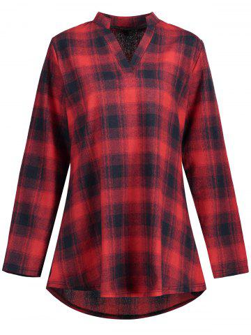 Unique High Low Plaid Plus Size Shirt